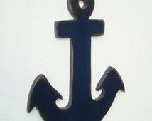 large dark navy blue anchor wood