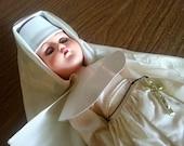 Elastic Strung Nun in Habit and Veil Sleep and Wake-Up Eyes Doll