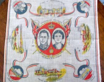 Royalty Souvenir Handkerchief - Coronation 1937  Geo VI & Elizabeth