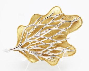 Vintage Coro Leaf Brooch Goldtone with Silvertone Detail