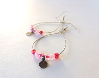 Guitar String Earrings - dangle earrings - pink - teens and adults - eco-friendly/upcycled jewelry - under  25.00