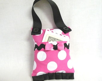 Minnie Mouse Inspired Tooth Fairy Pillow Purse for Girls Pink and White Polka Dot