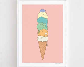 Melting - cute, quirky, summer, ice cream, art print