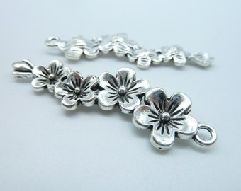 10 pcs 15x57mm Antique Silver Chinese Plum/Plum Blossom Flower Charms C2533
