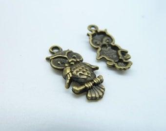 15pcs 16x25mm Antique Bronze Mini Owl Charm Pendant c3025