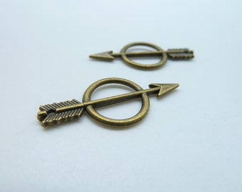 30pcs 13x28mm Antique Bronze Mini Double Sided Ring And Arrow  Charm Pendant(With Hole)  C3080