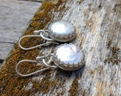 Outlander Inspired  Brianna's Bride earrings Coin Pearl and Sterling Silver Scottish Crown Bezel   wedding pearls, bridal jewelry,