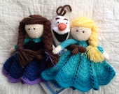 Anna, Elsa and Olaf inspired Lovey/ Security Blanket/ Plush Doll/ Stuffed Toy/ Soft Toy Doll/ Amigurumi Doll/ Frozen Dolls- MADE TO ORDER
