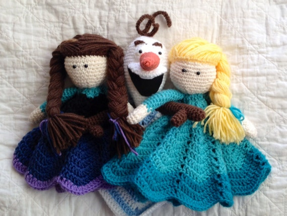 Crochet Elsa Doll Blanket : Anna Elsa and Olaf inspired Lovey/ Security by ...