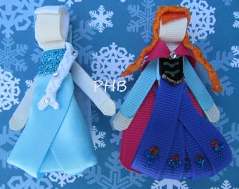 "Elsa and Anna from Frozen"" Princess Hair Clip Set # 2 - Inspired by Disney- Birthdays, Party favor"