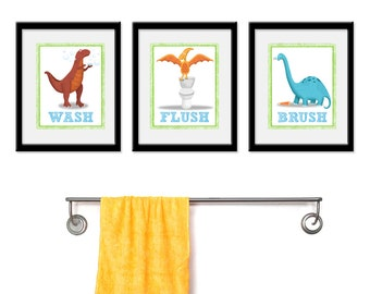 Dinosaur Bathroom Kids Art - Set of Three Bathroom Decor Prints -Dinosaur Theme kids decor, kids wall art, bathroom art, dino kids bathroom