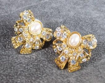 Vintage Rhinestone and Faux Pearl Bow Earrings, Pierced
