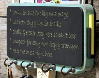 Shabby Chalkboard Mini Key Rack Storage and Message Center in Hummingbird Blue, Shabby Chic