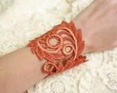 lace bracelet cuff -ZARA- burnt orange purple ivory blush ecru
