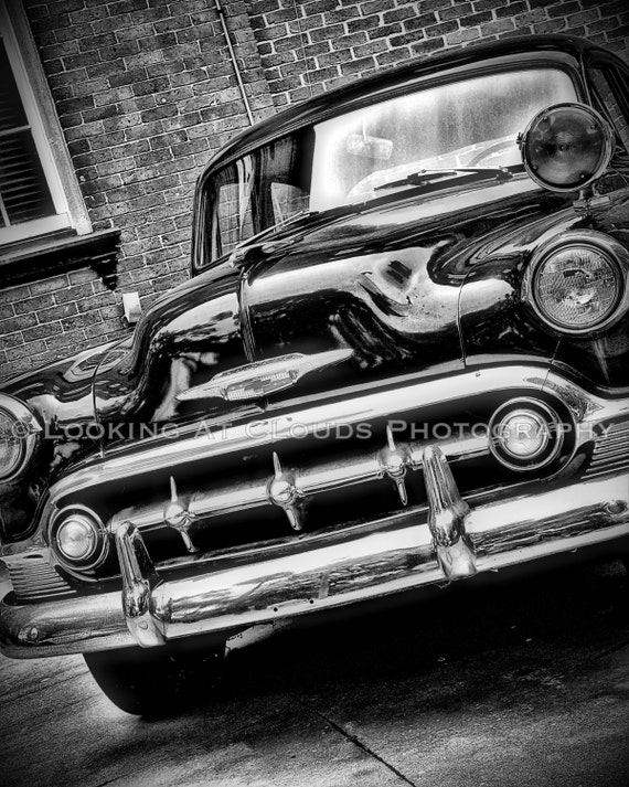 classic car art - vintage Chevy - sharp art photo  8 x 10 black and white - vintage car decor - retro style noir wall decor