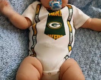Baby Boy Green Bay Packer Tie bodysuit with suspenders - Baby and Toddler sizes available 0-3m, 3-6, 6-12m, 12-18 - long Sleeve