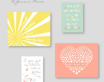 Coral Yellow and Green Nursery art, My Girl Nursery Wall Decor, floral decor, baby girl artwork, YassisPlace