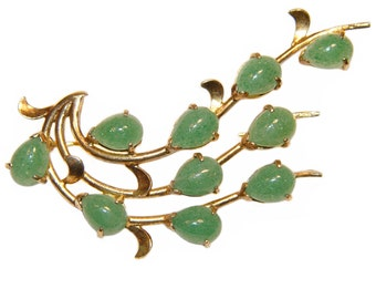 Gump's Jade Brooch, Gold Plated Sterling Silver, Rare, Collectible, Signed, Japan, Vintage