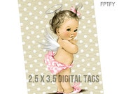 Adorable Vintage Angel Baby Girl Gift Tags Digital Collage Sheet Printable jpg Download 150