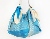Folded paper furoshiki bag (blue) & white leather carry strap set