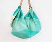 Free Shipping Worldwide - Folded paper furoshiki bag (emerald green) & tan leather carry strap set