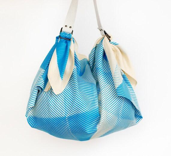 Folded paper furoshiki bag (blue) & white leather carry strap set