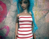 Red and White Striped SD/SD13 BJD 60cm Tube Top