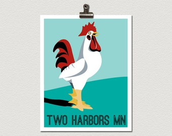 Giant Rooster Statue Two Harbors Minnesota Roadside Attraction Illustration Poster Print