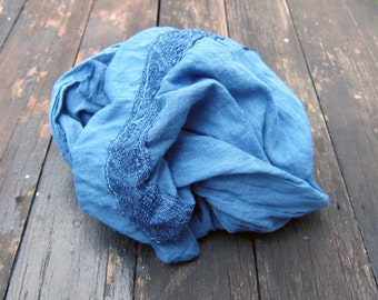 Organic cotton blue Scarf with Lace, Blue Cotton Scarf Scarves Gauze Scarf Womens Scarf Hand Dyed Scarf Thin Cotton Fabric Scarf