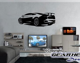 Lamborghini Wall Sticker,Man Cave, Man Cave Sticker, Automotive Sticker, Race Car, Gift for Guy, Wall Decal,
