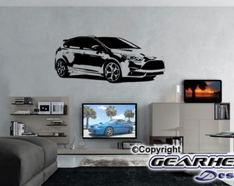 Ford Focus ST Wall Sticker, Man Cave, Man Cave Sticker, Automotive Sticker, Race Car, Gift for Guy, Wall Decal,