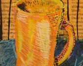 RESERVED for Liza. Little Warm Yellow Orange Mug Original Painting