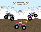 Printable Personalized Children's Adventure/Reward Chart - Monster Trucks  Jpeg or PDF
