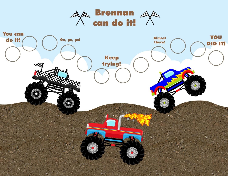 monster truck chart printable personalized children s adventure reward chart monster trucks jpeg or pdf
