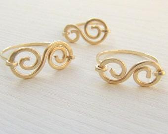 Delicate ring. Gold spiral ring. Dainty gold ring. Little finger ring. Mom and daughter ring. Flower girl gift.