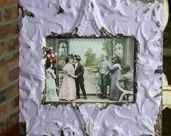 Antique Ceiling Tin Picture Frame --  5 x 7 -- Pale Lavender Colored Paint  --  Victorian Design