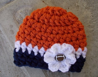 Denver Broncos inspired baby hat - sports prop - football season - team sports - made to order