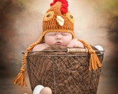 Newborn Chicken Ear Flap Hat