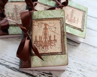 Altered Mini Composition Journal Notebook - Shabby Chic - Chandelier