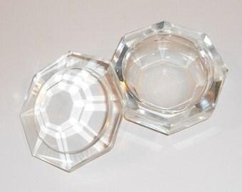 Cut Glass Powder Dish Heavy Vintage