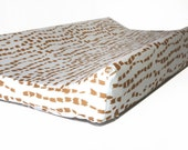 Changing pad cover MODERN BRUSHSTROKES for contoured pad- bronze change mat cover- gender neutral nursery- change pad cover bronze