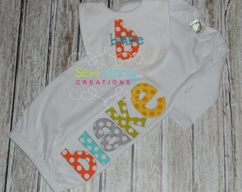 Monogrammed Name Applique Gown and Bib Personalized