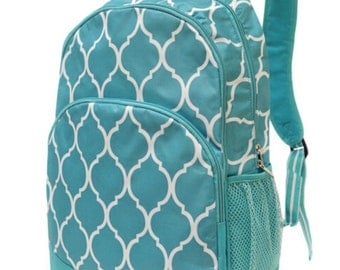Aqua Quatrefoil Backpack from All for Color, monogrammed with your name, customized