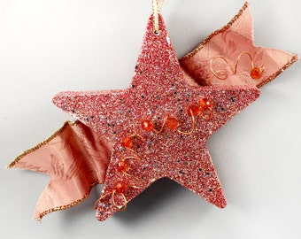 Red and Silver Star Glitter Ornament, Dusty Pink Ribbon, Copper Wire and Red Orange Beads