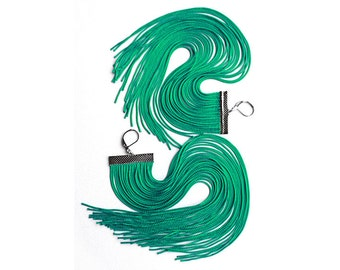 Mint Long Fringe Earrings.Mountain Meadow Extra Long Statement Earrings.Pine Shoulder Dusters.Green Chandelier Maxi Earrings.Handmade