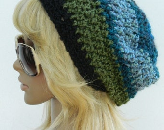 Winter Slouchy  Slacker Beanies  Women's Winter HatsTeens Winter Hats Girl's Winter Beanies In Green Black Teal And Turquoise
