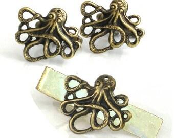 Steampunk - OCTOPUS CUFFLINKS and Tie CLIP Set - Antique Brass Gold - Nautical - Neo Victorian - By GlazedBlackCherry