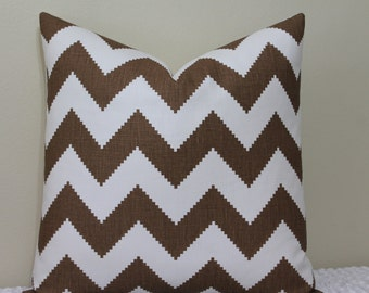 "SET of TWO - Jonathan Adler Limitless Chevron Print for Kravet in Cocoa/Brown - 20"" x 20"" Decorative Designer Pillow Covers"
