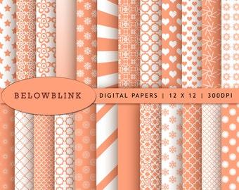 Light Salmon Digital Paper Pack, Scrapbook Papers, 24 jpg files 12 x 12 - Instant Download - DP245