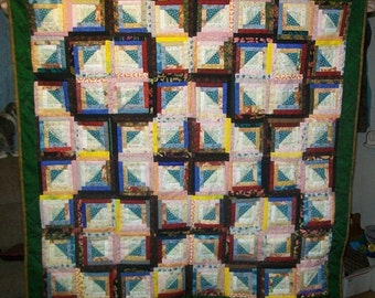 Scrappy Log Cabin Quilt 42 x 42
